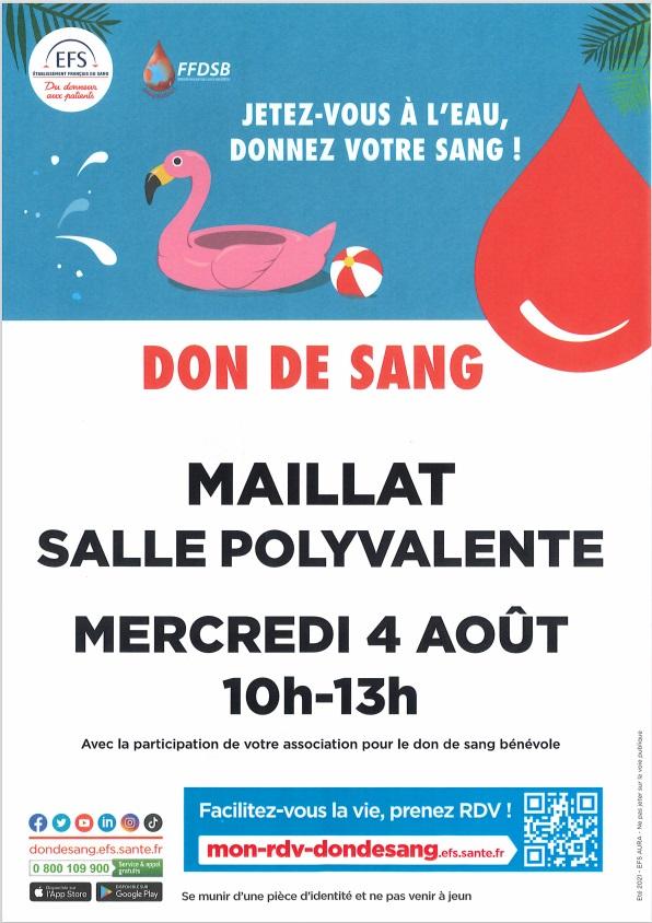 Don du sang le 4 aout à Maillat