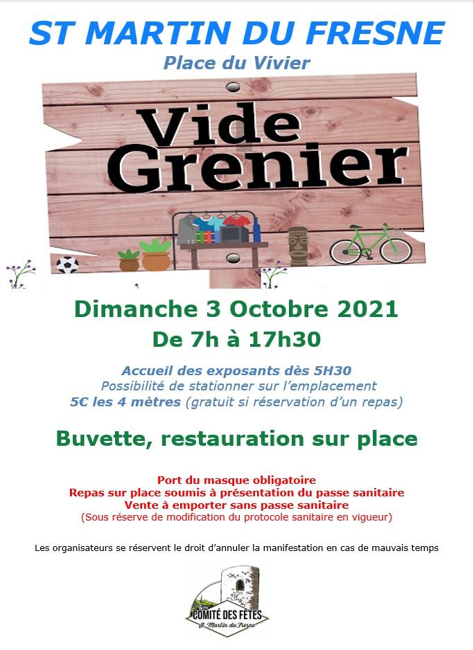 VIDE GRENIER LE 3 OCTOBRE